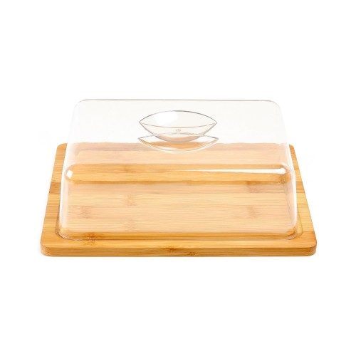 Bamboo cheese with plastic cover
