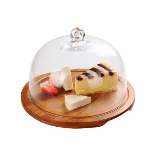 Bamboo cheese with glass cover